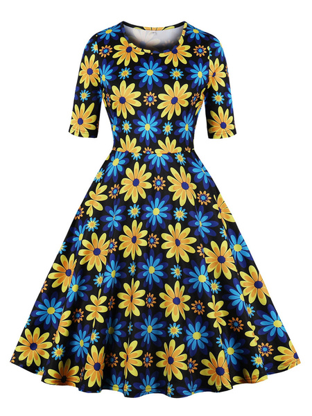 Milanoo Vestido de girasol Vestido de verano de mujer con medias mangas de los años 50