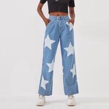 Star Print Straight Leg Jeans