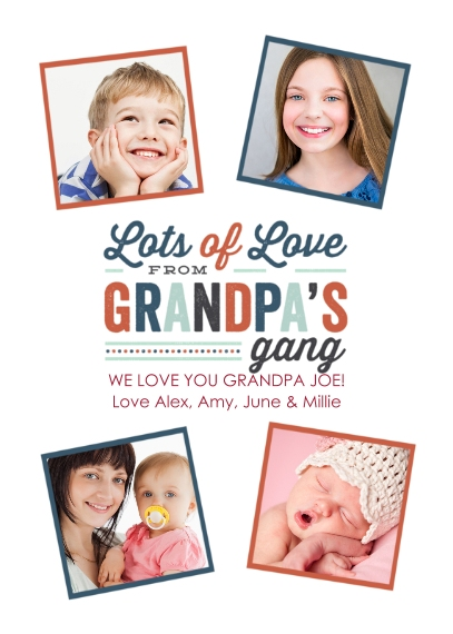 Grandparent's Day 5x7 Folded Cards, Standard Cardstock 85lb, Card & Stationery -The Gang's All Here - Folded