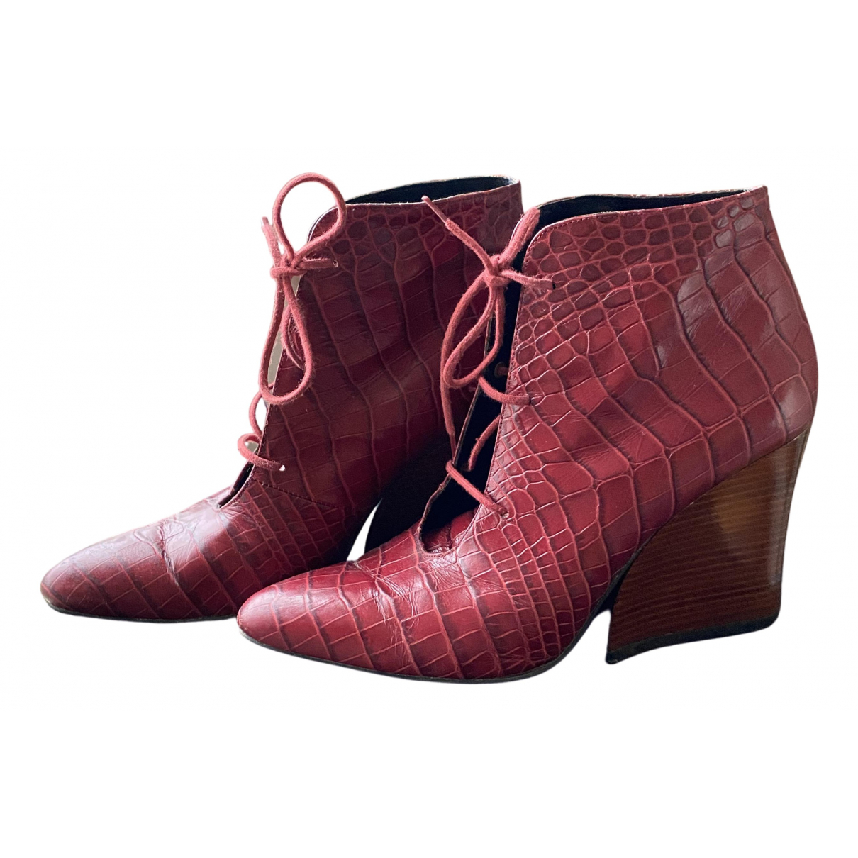 Robert Clergerie N Burgundy Leather Lace ups for Women 36.5 EU