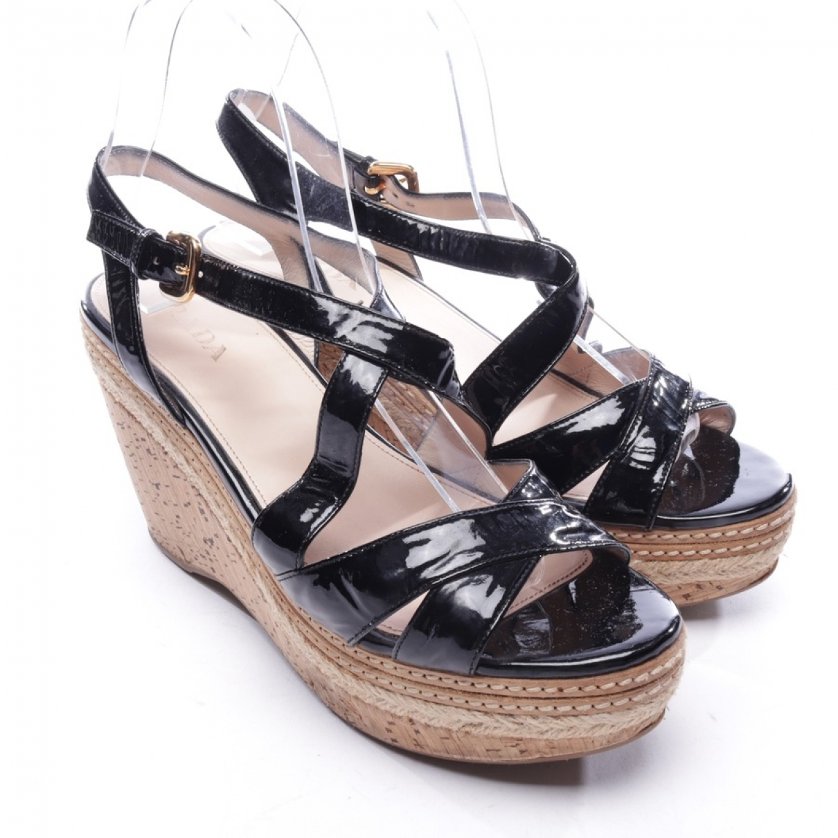 Prada N Black Patent leather Sandals for Women 39 EU