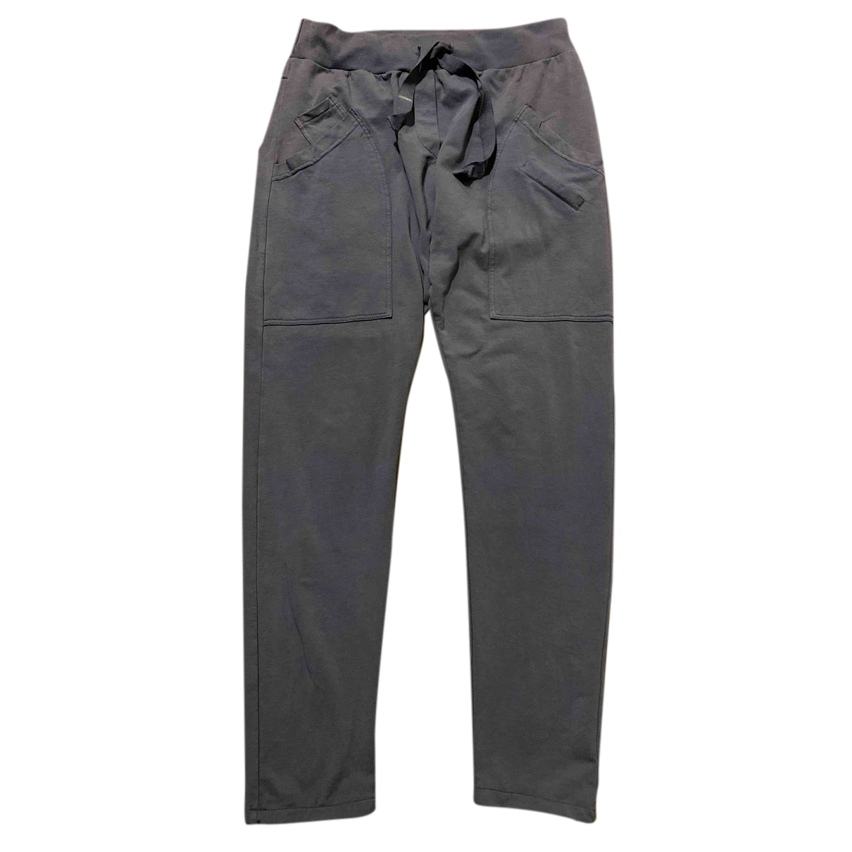 Non Signé / Unsigned N Blue Cotton Trousers for Women M International