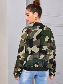 Zip Up Flap Pocket Front Semi Sheer Camo Bomber Jacket