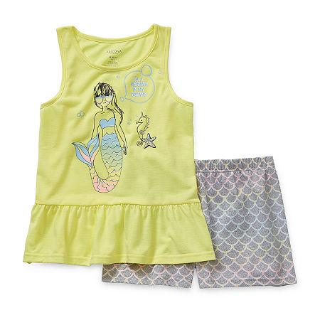 Arizona Little & Big Girls 2-pc. Shorts Pajama Set, Xx-small (4-5) , Yellow