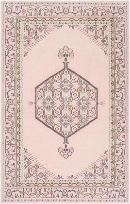 Zahra ZHA-4049 8' x 11' Rectangle Traditional Rugs in Pale Pink  Charcoal  Medium Gray  Ivory
