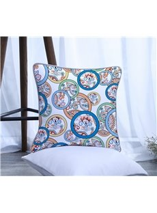 Circle Paisley Design Pattern Polyester One Piece Decorative Square Throw PillowcaseC
