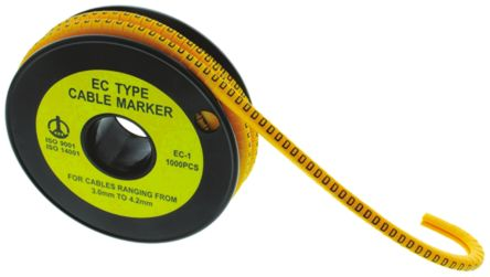 RS PRO Slide On Cable Marker, Pre-printed W Black on Yellow 3 → 4.2mm Dia. Range