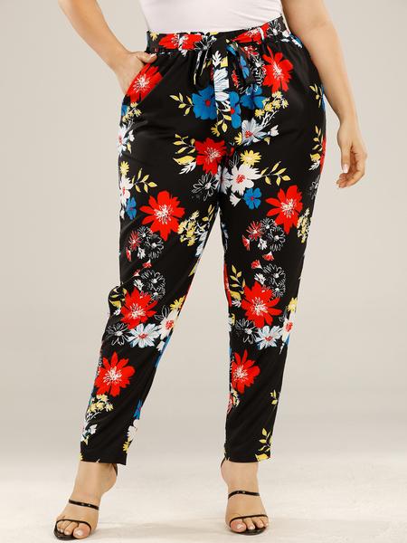 Yoins Plus Size Floral Print Tie-up Design Belt Design Pants