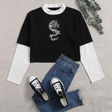 Plus 2 In 1 Chinese Dragon Graphic Tee