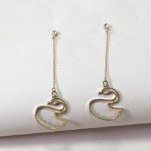 Swan Charm Drop Earrings