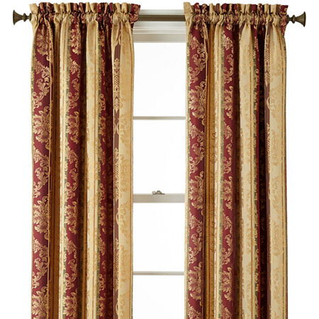 JCPenney Home Regan Light-Filtering Rod-Pocket Single Curtain Panel, One Size , Red