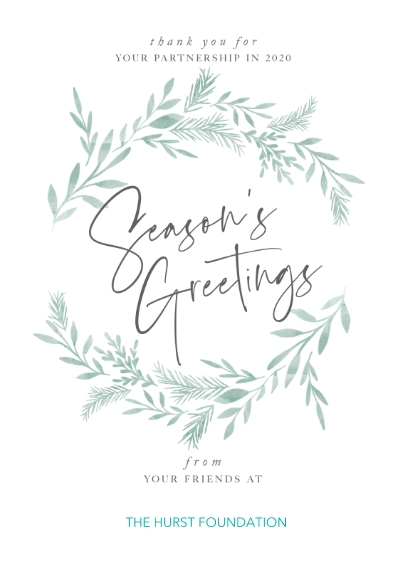 Seasonal Flat Business Greeting Cards, Business Printing -Delicated Wreath