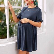 Maternity Ruffle Cuff Jersey Smock Dress