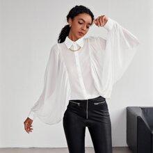 Bluse mit transparenten Laternenaermeln