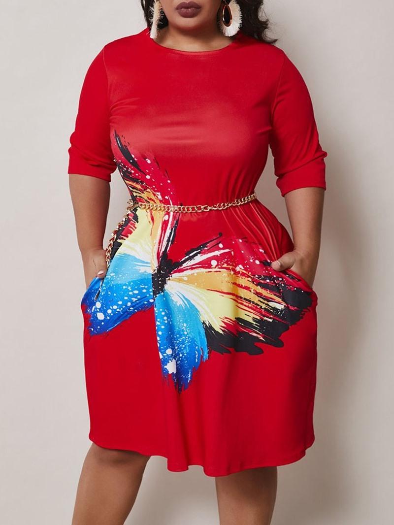 Ericdress Plus Size Knee-Length Three-Quarter Sleeve Print Pullover Dress