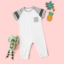 Baby Boy Striped Tape Baseball Jumpsuit