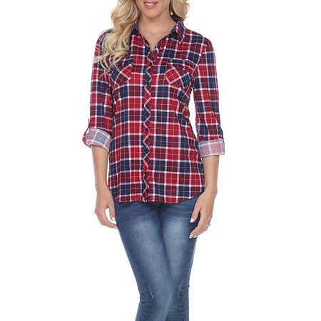 White Mark Oakley Plaid Womens Long Sleeve Button-Down Shirt, X-large , Pink