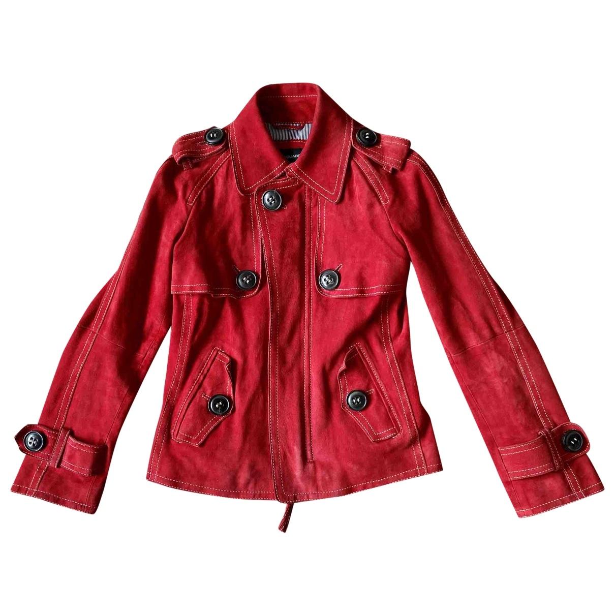 Dsquared2 - Veste   pour femme en suede - rouge