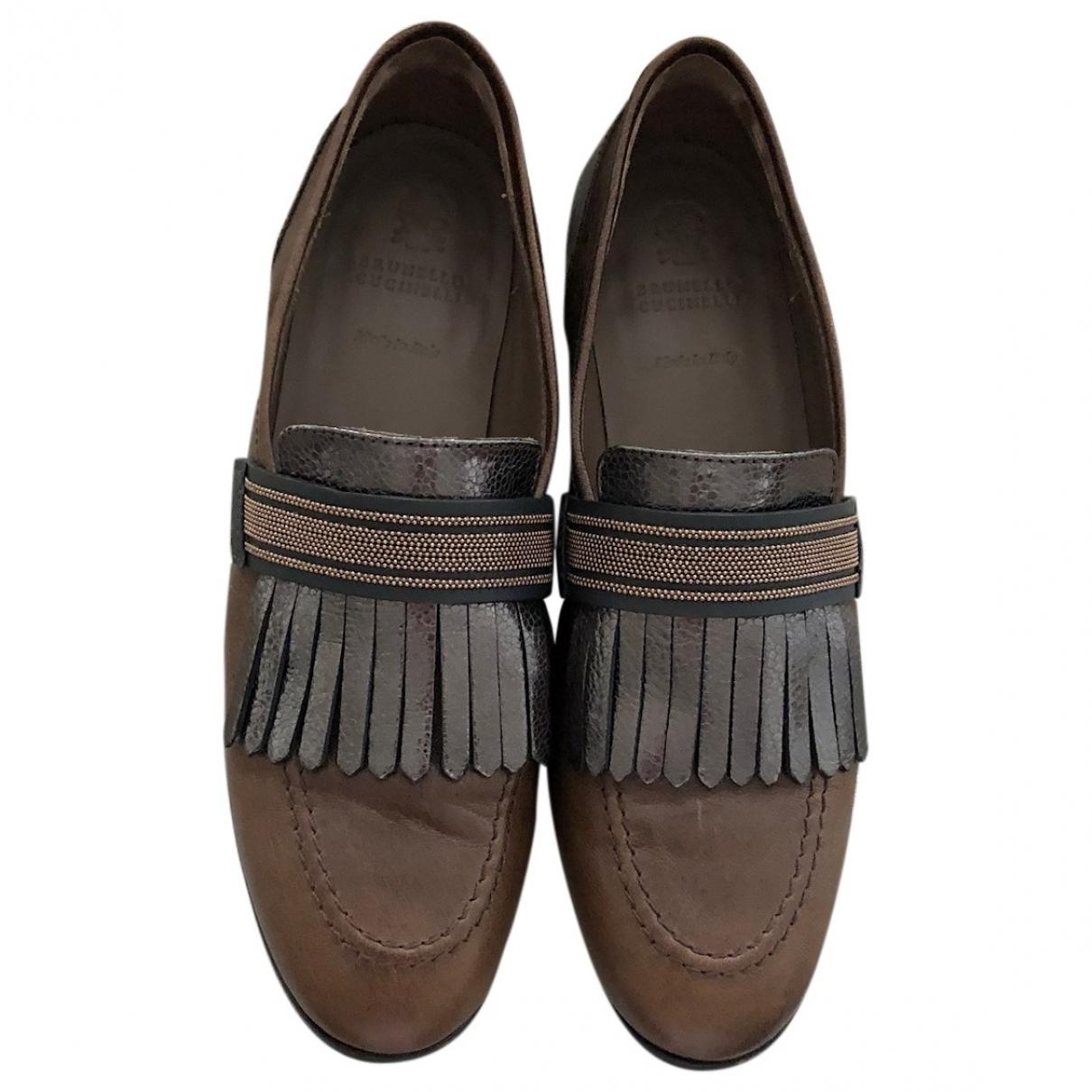 Brunello Cucinelli \N Brown Leather Flats for Women 37 EU