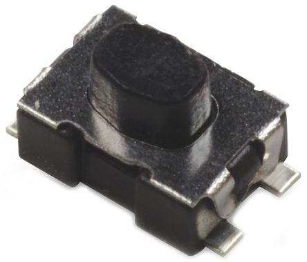 C & K IP40 Black Button Tactile Switch, Single Pole Single Throw (SPST) 10 mA 2.11mm Surface Mount (7000)
