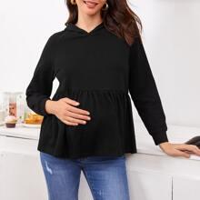Maternidad capucha smock de manga raglan