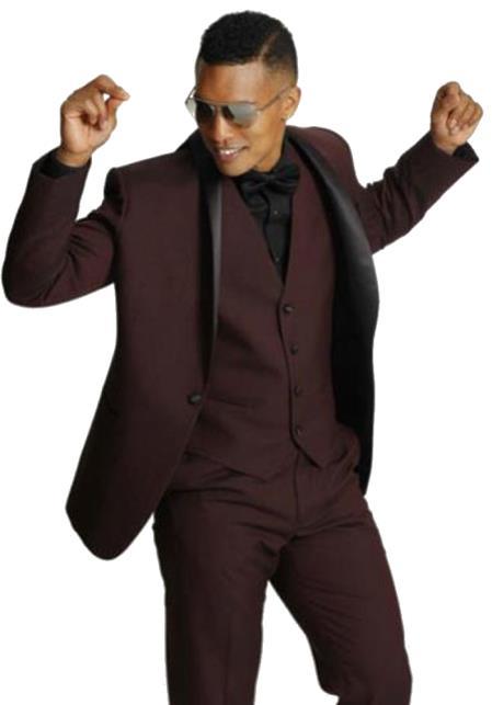 Men's One Button Shawl Black Lapel Tuxedo Burgundy Vested Suit