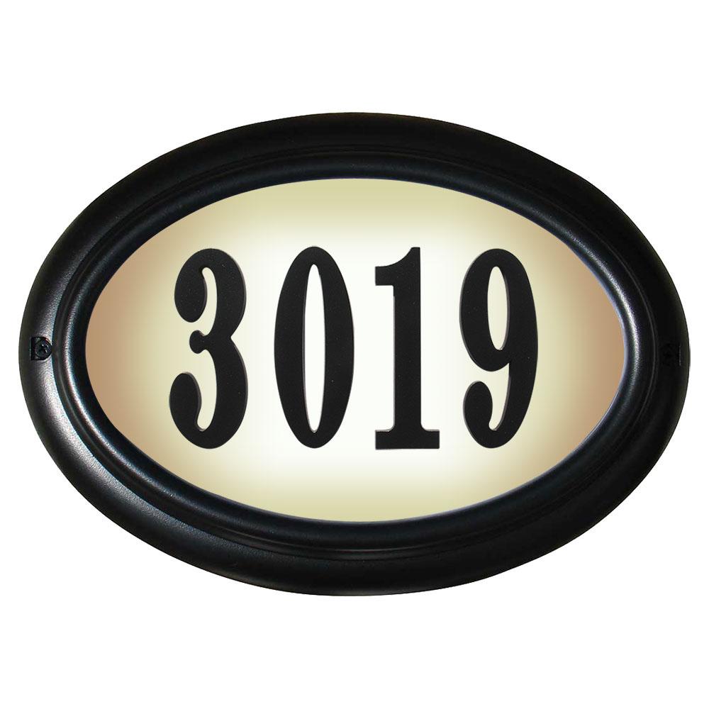 Edgewood Oval Lighted Address Plaque in Black Frame Color with LED Lights