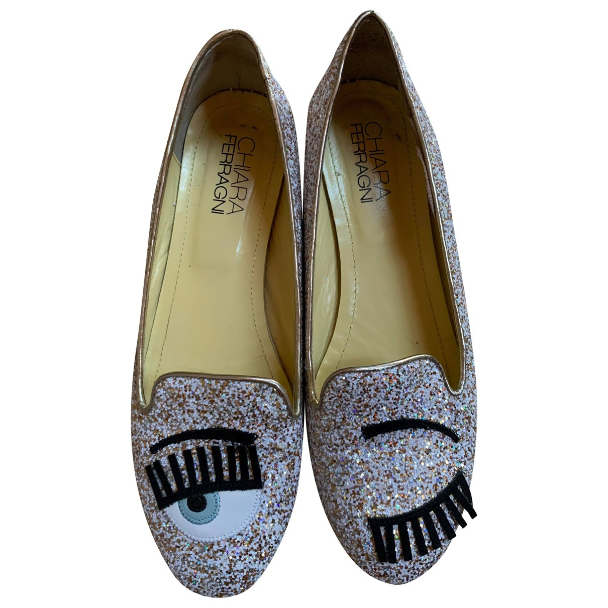 Chiara Ferragni \N Silver Glitter Ballet flats for Women 39 IT