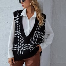 Plaid Plunging Neck Sweater Vest