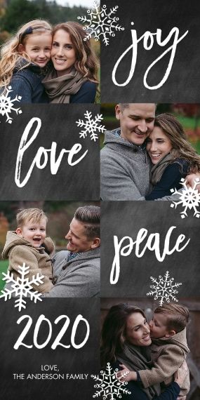 Christmas Photo Cards Flat Glossy Photo Paper Cards with Envelopes, 4x8, Card & Stationery -2020 Holiday Joy Love Peace by Tumbalina