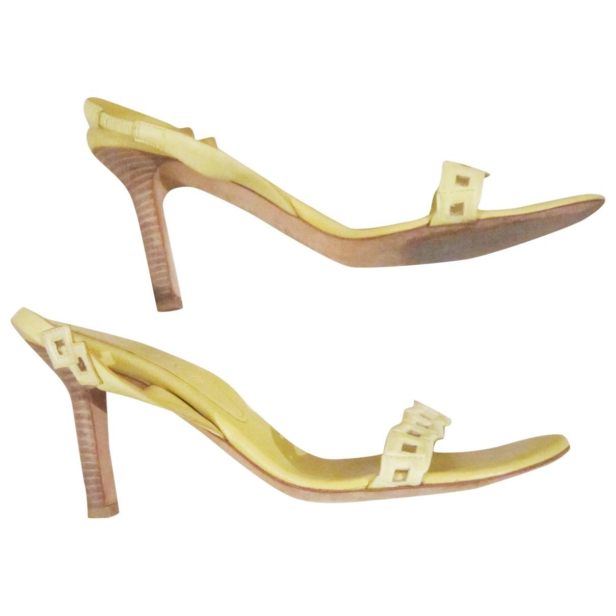 Celine - Sandales   pour femme en cuir - jaune