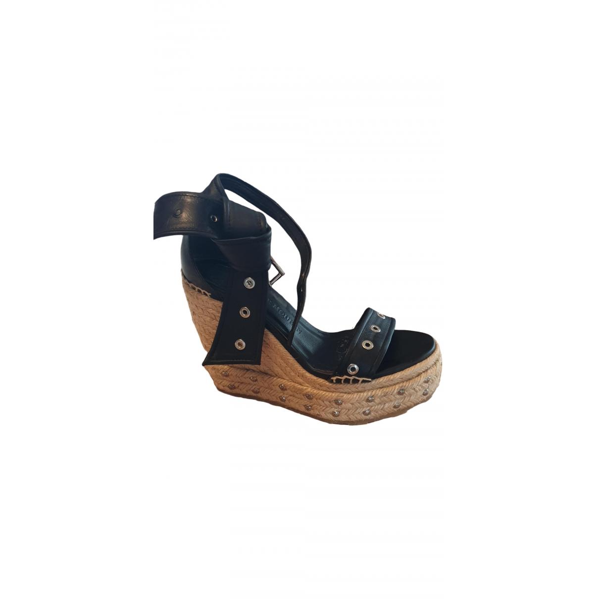Alexander Mcqueen \N Black Leather Sandals for Women 37.5 EU