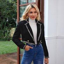 Pearl Detail Tweed Blazer