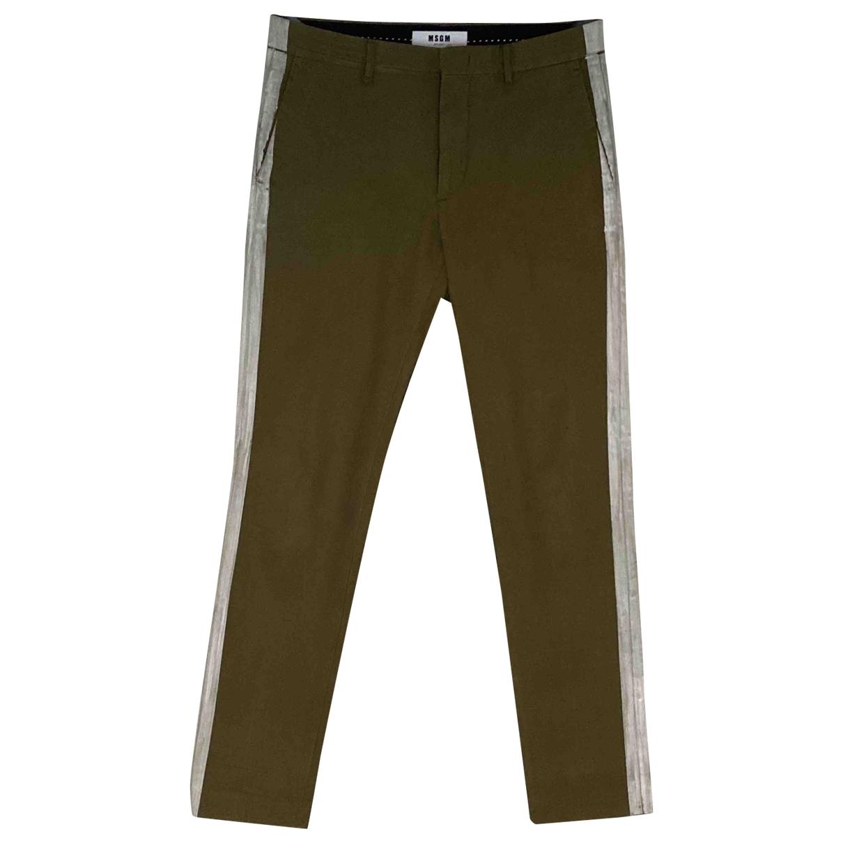 Msgm \N Khaki Cotton Trousers for Men 46 IT