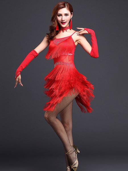Milanoo Disfraz Halloween Baile latino azul correas flecos leche seda vestido  Halloween