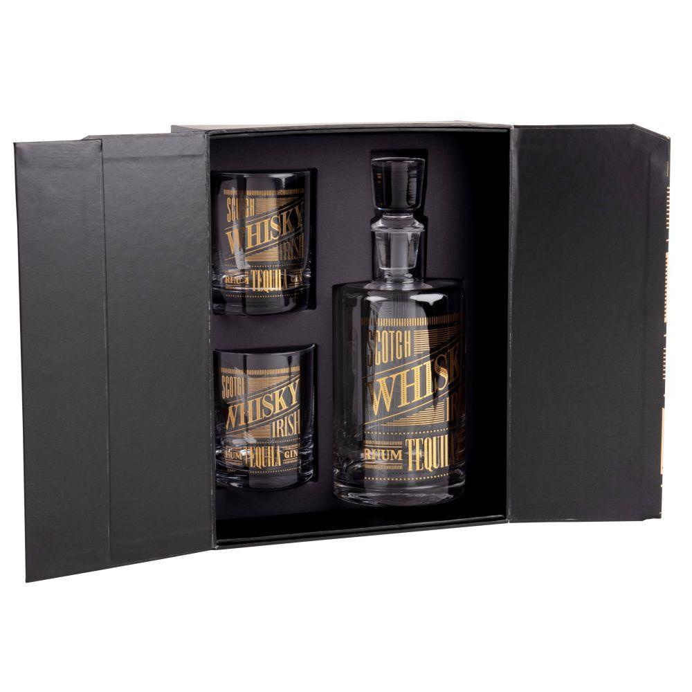Magnetisches Set Whiskykaraffe und 2 Glaeser
