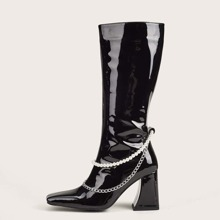 Faux Pearl & Chain Decor Chunky Heeled Boots