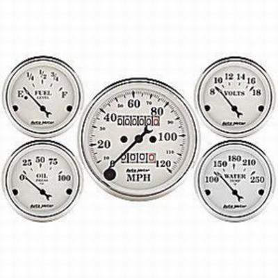 Auto Meter Old Tyme White 5 Gauge Set - 1611