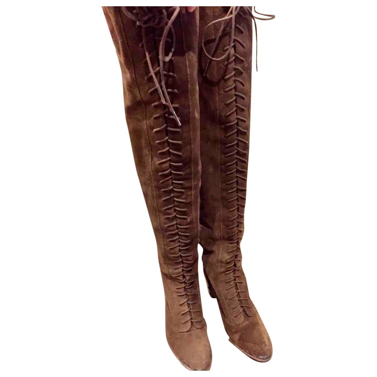 - Bottes   pour femme en cuir - marron