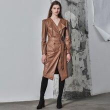 Abrigo con cinturon de manga farol PU