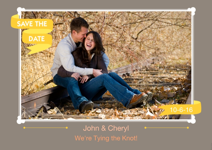 Save the Date 5x7 Cards, Premium Cardstock 120lb, Card & Stationery -Save The Date Yellow Banner