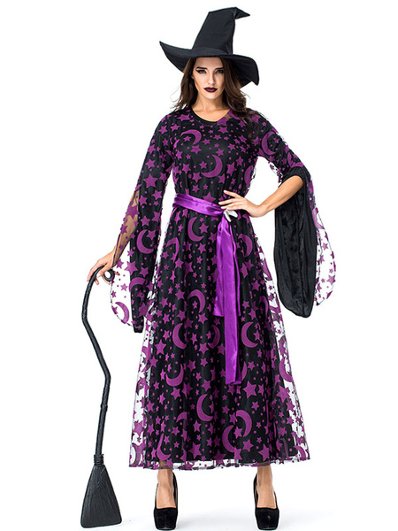 Milanoo Women\'s Carnival Costumes Witch Purple Adult\'s Galaxy Print Retro Layered Sash Polyester Party Dress Holidays Costumes