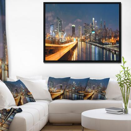 FL10072-62-30-FLB Philadelphia Skyline At Night - Cityscape Framed Canvas Print -