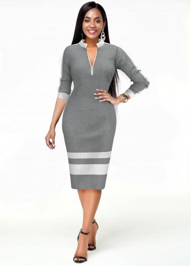 Cocktail Party Dress Striped Long Sleeve Quarter Zip Dress - XL