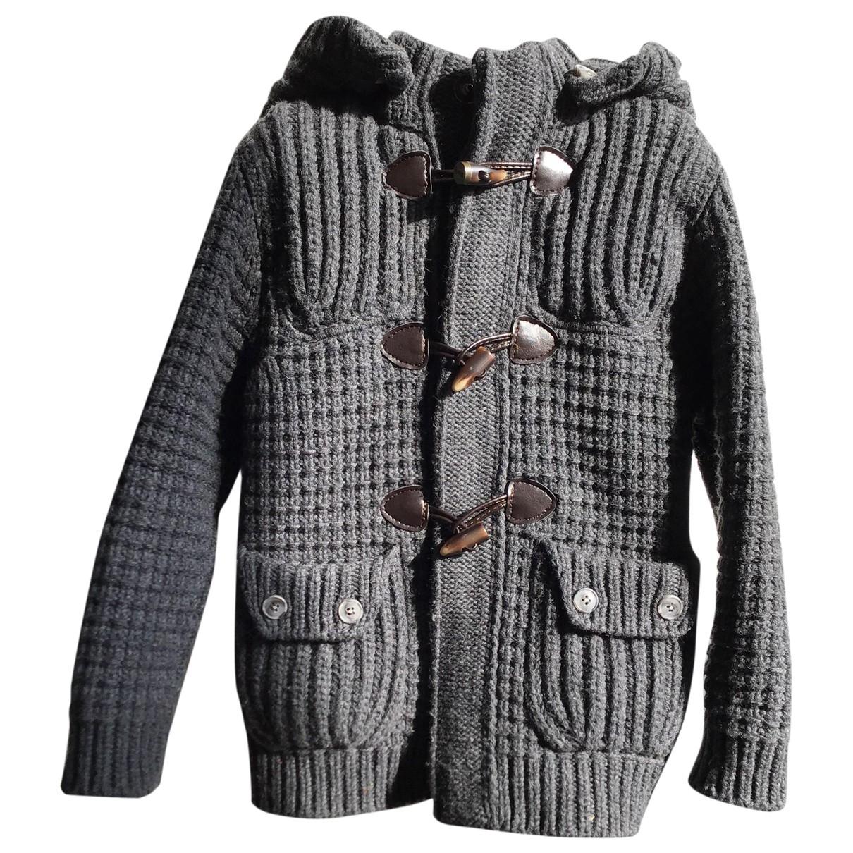 Bark \N Jacke, Maentel in  Grau Wolle