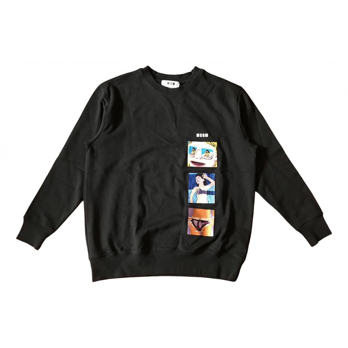 Msgm - Pull   pour femme en coton - noir
