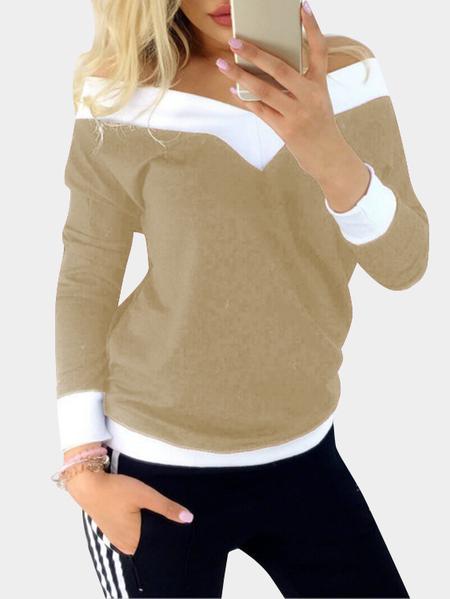 Yoins Khaki Stitching Details Off Shoulder V-neck Long Sleeves Casual T-shirt