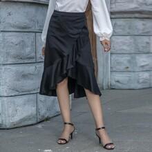 Solid Ruffle Wrap Skirt