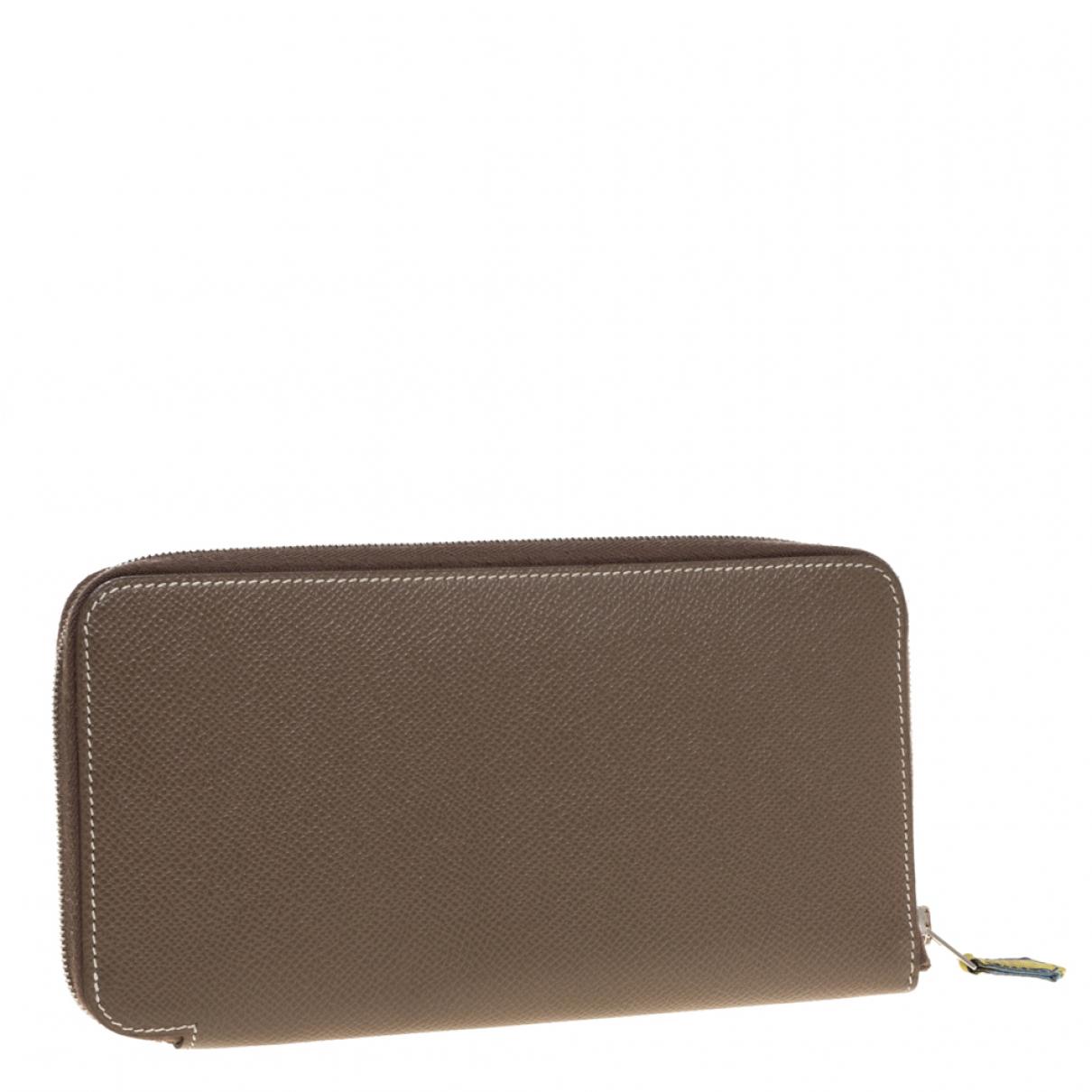Hermes - Portefeuille Azap pour femme en cuir - beige
