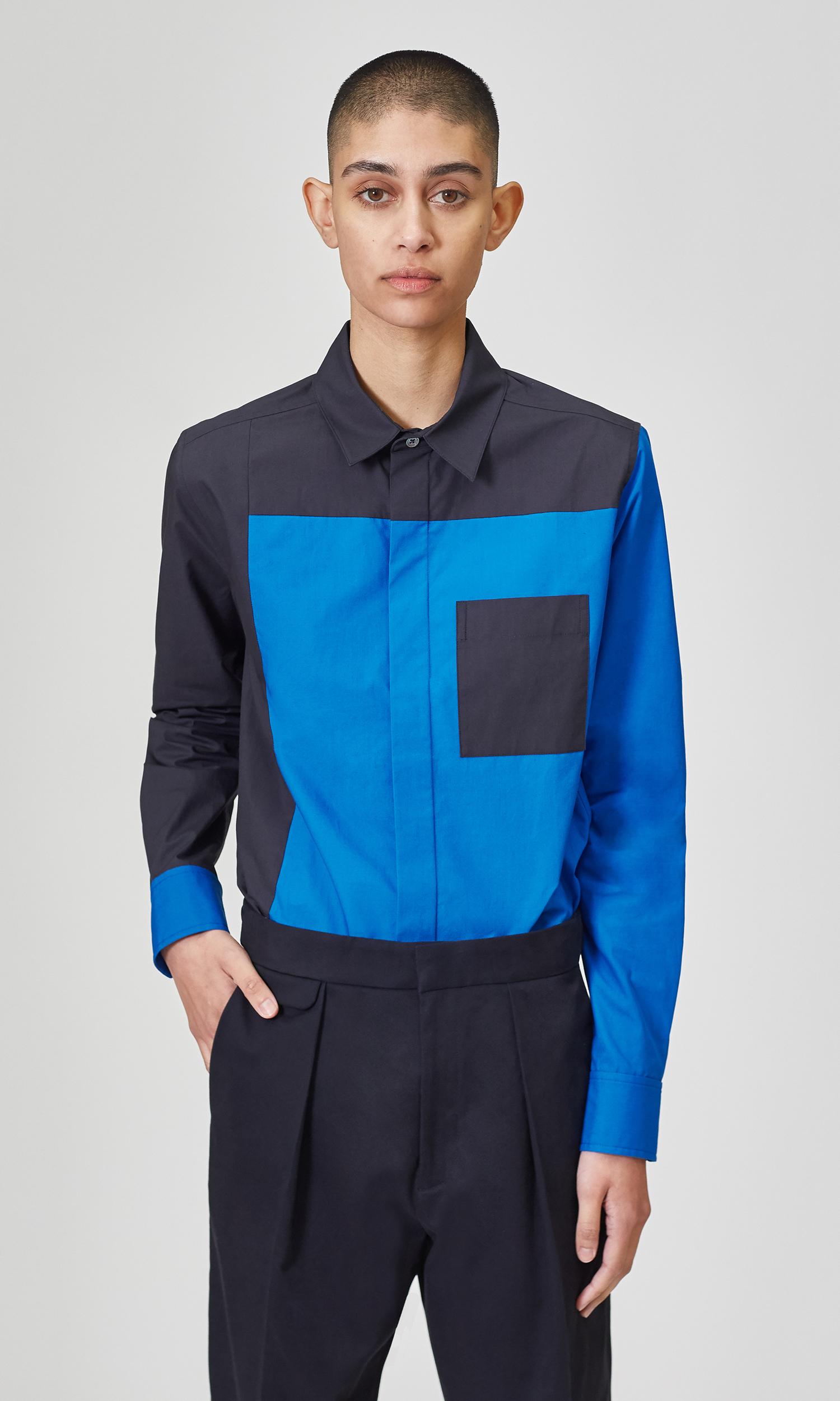 Slim Fit Color Block Cotton Shirt by Equipment